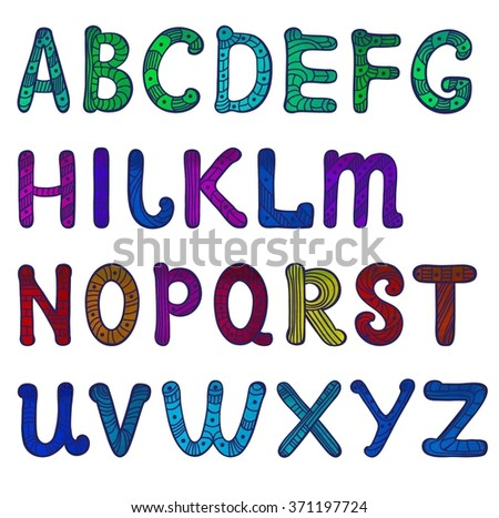 Watercolor English alphabet letters in patterns on a white background