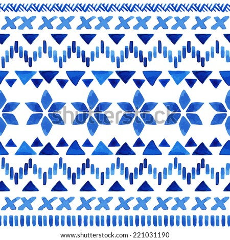 Watercolor ethnic seamless pattern. Aztec geometric background. Hand drawn blue pattern. Scandinavian pattern. Modern abstract wallpaper. Vector illustration.  - stock vector