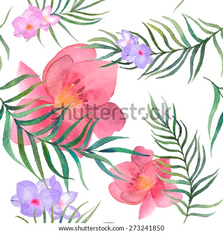 Watercolor exotic flowers and palm tree leaves pattern. Seamless texture with hibiscus, freesia flower, tropic plants elements on white background. Summer hand drawn wallpaper in vector - stock vector
