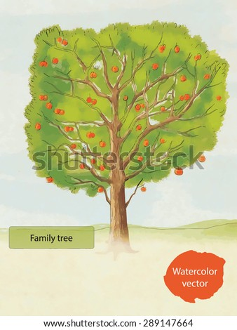 Watercolor family tree, hand drawn, vector - stock vector