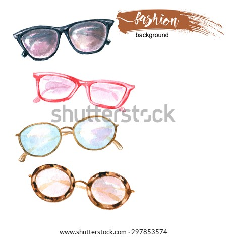 Watercolor  fashion background  with    sunglasses.  Vector illustration. - stock vector