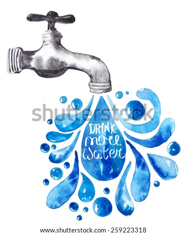Watercolor faucet with water drops over white, Vector illustration, Vector - stock vector