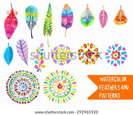 Watercolor feather and pattern collection over white, Vector - stock vector