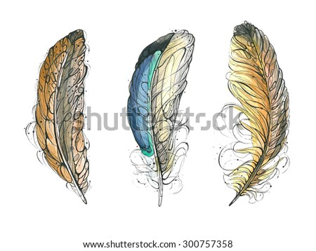 Watercolor feathers.Hand drawn vector illustration - stock vector