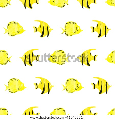 Watercolor fish seamless pattern. Yellow tropical fish isolated on white background. Bright vector wallpaper.  - stock vector