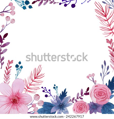 Pink Watercolor Flower Frame Stock Images, Royalty-Free ...