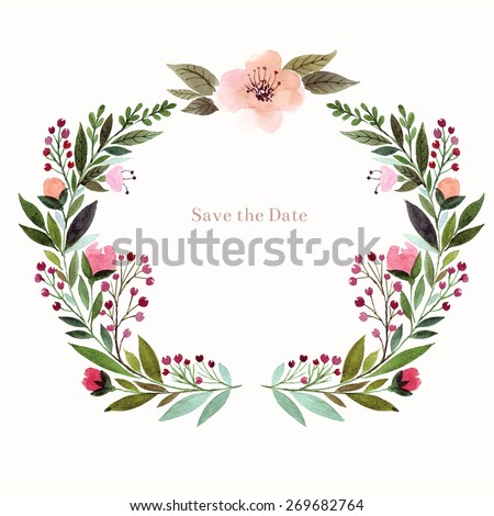 Watercolor floral background. Holiday card, invitation. - stock vector