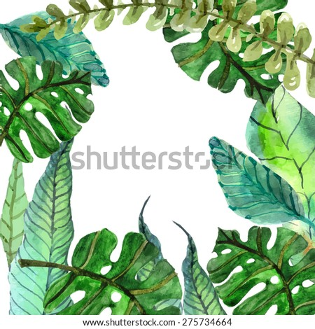 Watercolor Floral background with Tropical leaves for beautiful design, Vector - stock vector