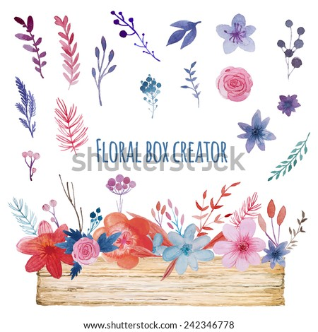 Watercolor floral box creator. Set of hand drawn wood box, plants, berries and flowers for design various combinations and posies. - stock vector