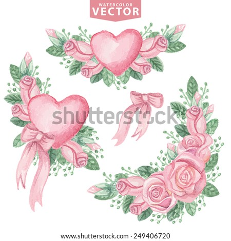 Watercolor Floral compositions of pink roses,buds,hearts,bow.Cute vintage flowers  for Valentines day,wedding set,mothers day,birthday,Easter.Hand drawing painting.Vector for invitation,card,template. - stock vector
