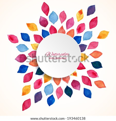 Watercolor floral frame. Design template. Vector illustration  - stock vector