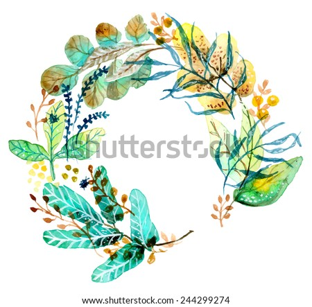 Watercolor floral frame for wedding invitation design or save the date illustration - stock vector