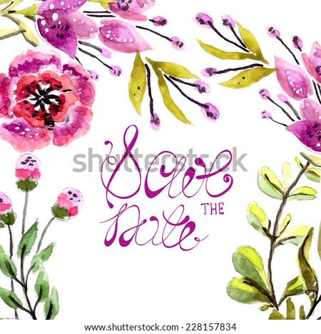 Watercolor floral frame for wedding invitation, save the date illustration - stock vector