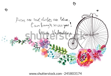 Watercolor floral frame for wedding invitation, save the date illustration with retro bicycle, Valentine's day decorations