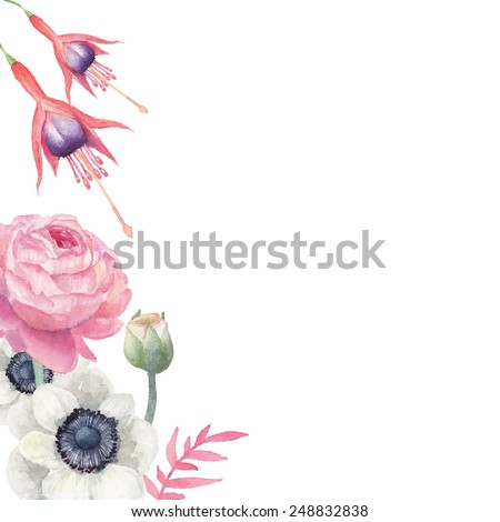 Watercolor floral frame. Hand drawn vintage floral background with ranunculus, anemone, fuchsia. Isolated vector illustration with leaves, flower and plants. - stock vector