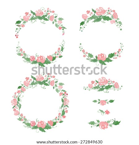 Watercolor floral frames, wreath, dividers. Vector illustration. Great for wedding invitations, Mothers day cards, page decoration. - stock vector