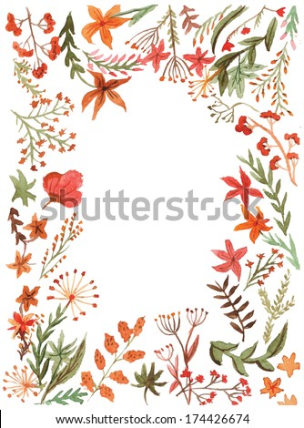 Watercolor floral greeting card. Vintage retro background with wildflowers. Summer theme background - stock vector