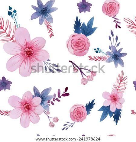 Watercolor floral pattern. Seamless texture with isolated pink flowers and plants. Vector repeating background - stock vector