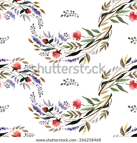 Watercolor floral pattern with flowers and herbs. Hand painting. Watercolor. Seamless pattern for fabric, paper and other printing and web projects. - stock vector