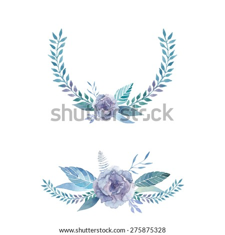 Watercolor floral posies and wreath. Set of floral posies with lisianthus flower, leaves, plants and  branches. Vector hand drawn illustration - stock vector