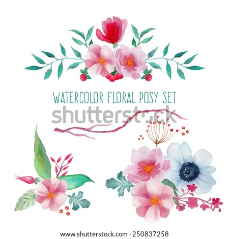 Watercolor floral posies. Set of floral posies with roses hips, anemone, plants and  branches. Vector hand drawn illustration - stock vector