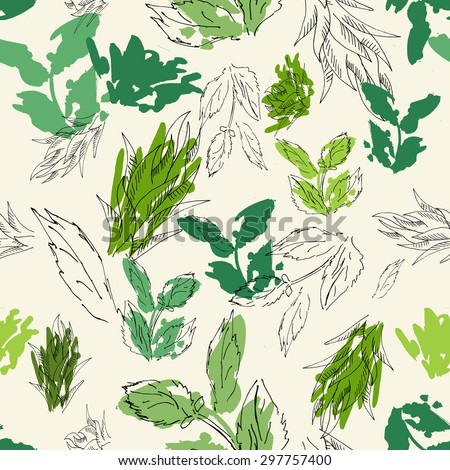 Watercolor floral seamless pattern.Hand drawn texture with grass and mint