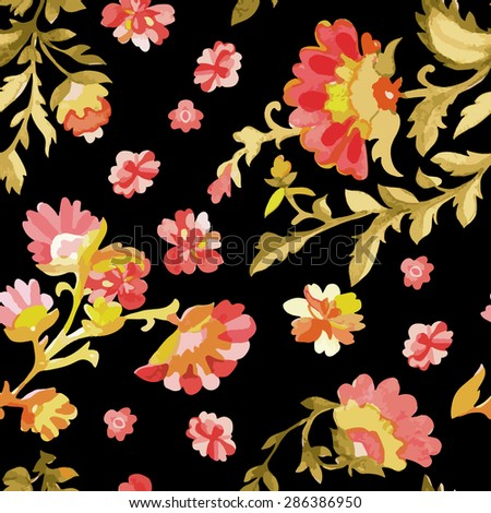 Watercolor floral seamless pattern. Indian, persian or turkish art. Vector background. Warm colors. - stock vector