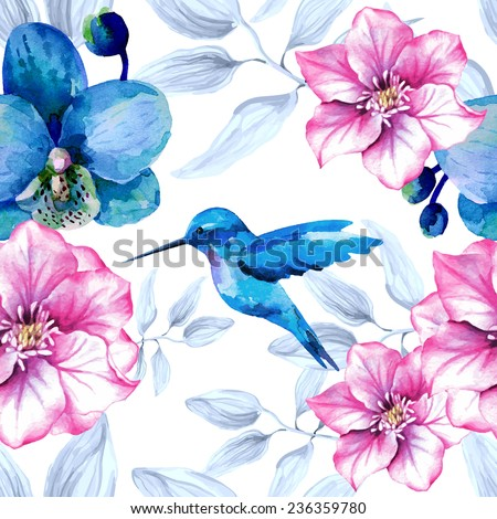 Watercolor floral seamless pattern with orchid flowers and hummingbird - stock vector