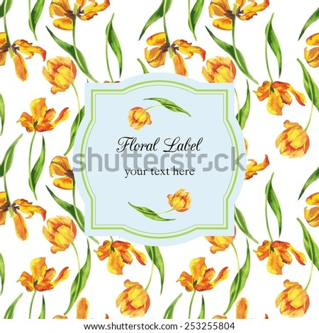 watercolor floral template - stock vector