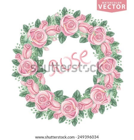 Watercolor Floral wreath of pink roses ,buds.Cute vintage flowers  for Valentine's day ,wedding set,mother's day,birthday,Easter.Hand drawing painting.Vector for invitation,card,template. - stock vector