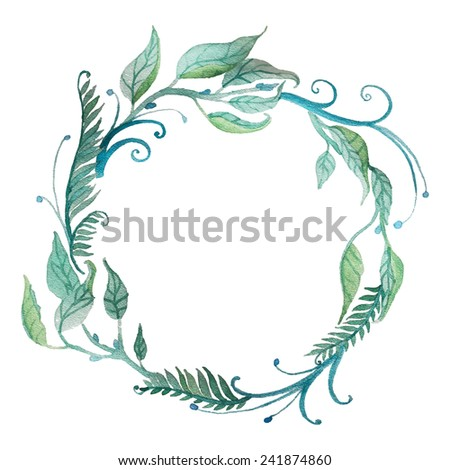 Watercolor floral wreath with leaves and branches. Vector hand drawn artistic frame. - stock vector