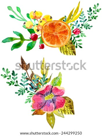 Watercolor flower compositions, watercolor painting, color vector illustration - stock vector