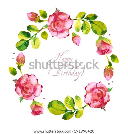 Watercolor flower roses wreath. Vector illustration - stock vector