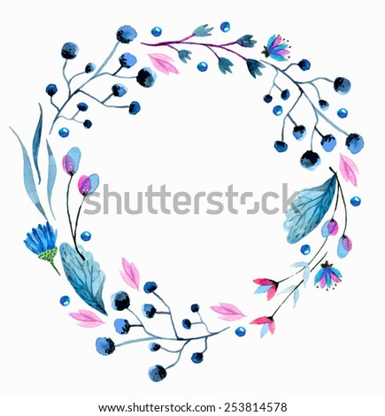 Watercolor flower wreath over white - stock vector