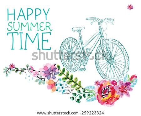 Watercolor flowers and bicycle over white for beautiful design, Vector