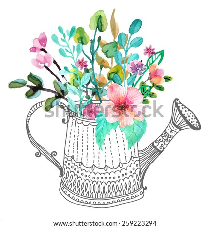Watercolor flowers and doodle watering can over white, Vector