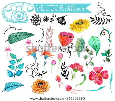 Watercolor flowers collection for different design Vector - stock vector