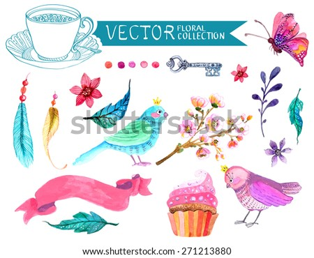 Watercolor flowers collection for different design with bird, feather, butterfly and ribbon, Vector