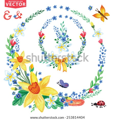 Watercolor flowers,insects,branch in wreath. Vintage floral vector group ,scrapbooking elements.Bright colors.For holiday cards,invitations.web,print page - stock vector
