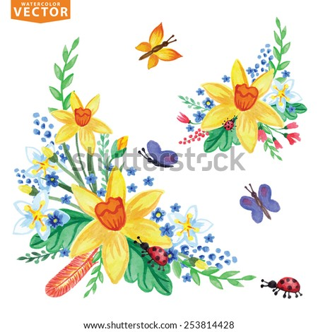Watercolor flowers,insects,branch.Vintage floral vector group ,scrapbooking elements.Bright colors.For holiday cards,invitations.web,print page - stock vector