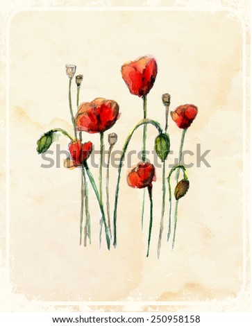 Watercolor flowers on a vintage background Vector illustration.  - stock vector