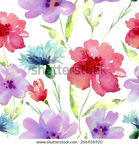 Watercolor flowers seamless pattern. Bright colors watercolor background. - stock vector