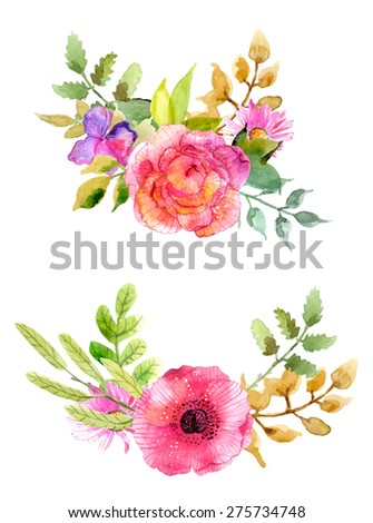 Watercolor flowers set. Colorful floral collection with leaves and flowers. Spring or summer design for invitation, wedding or greeting cards, Vector