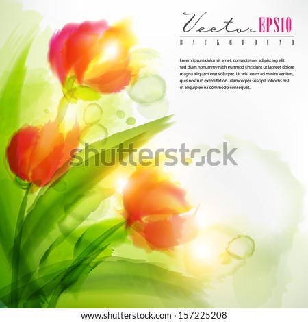 Watercolor flowers.The illustration contains transparency and effects. EPS10 - stock vector