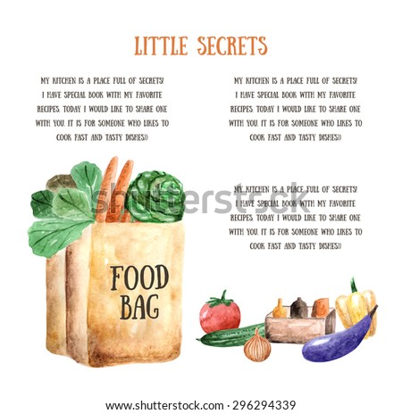 Watercolor food cooking card brochure food stock vector 296294339 watercolor food cooking card brochure with food bag tomato carrot cabbage forumfinder Images