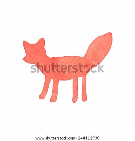 Watercolor fox on the white background, aquarelle. Vector illustration. Hand-drawn decorative element useful for invitations, scrapbooking, design. Native american stylization - stock vector