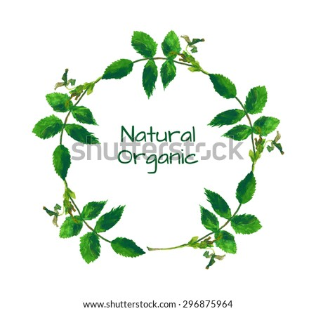 Watercolor frame made of branches with green leaves. Hand made easily editable vector illustration. - stock vector