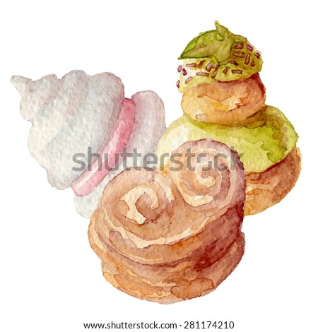 Watercolor french cakes desserts hand drawn eps10 - stock vector