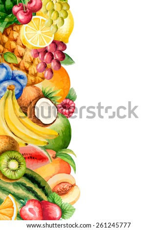 Watercolor fruit, banner for your design. Vector illustration.