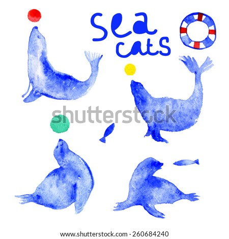 Watercolor fur-seal silhouette with fish, lifebuoy and ball. Funny Sea cats. Vector card template with watercolor elements. - stock vector